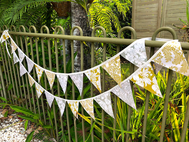 Gold and Silver Outdoor Wedding Bunting - 24 Flags - Pallu Design