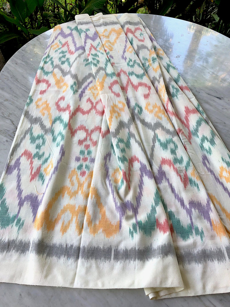 White Cotton Ikat Sarong or Decor Fabric - 1.8m