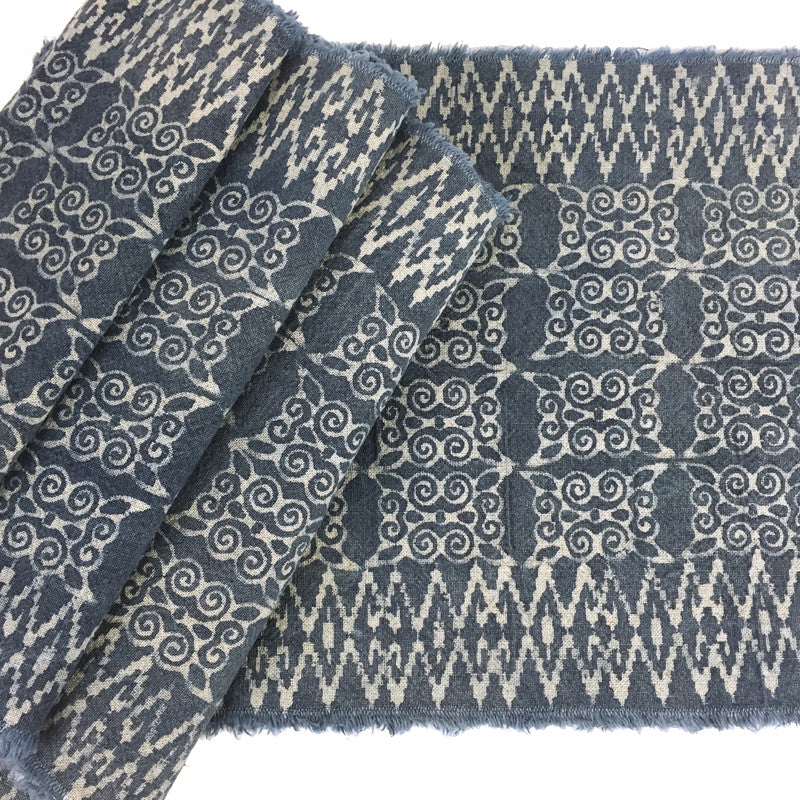 Hmong Indigo Batik Cotton Strip with Scroll Motif - Pallu Design