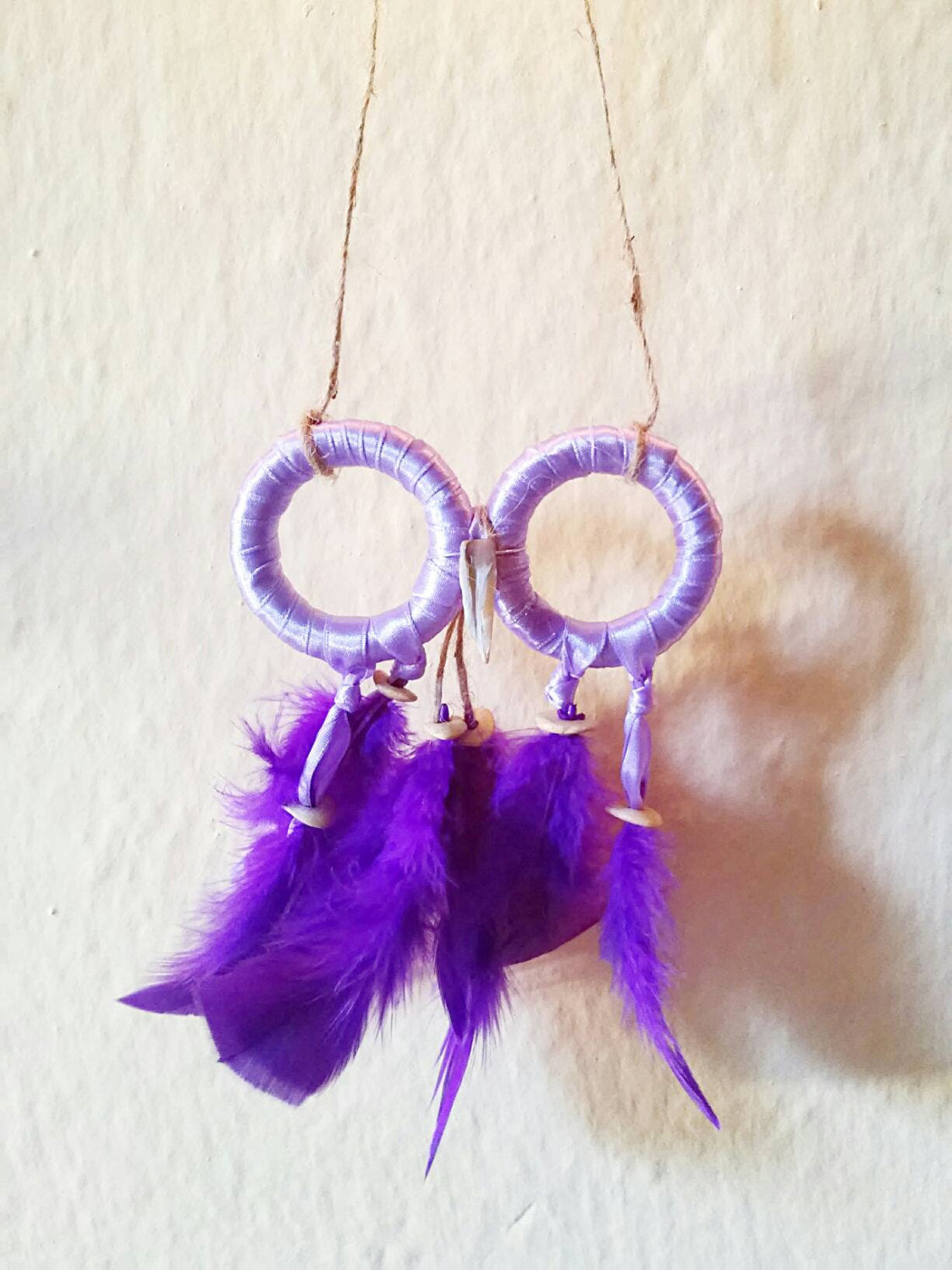 Purple owl dream catcher, small owl dreamcatcher, boho purple owl dream catcher, hippie owl dreamcatcher, boho wall owl decor, wall decor