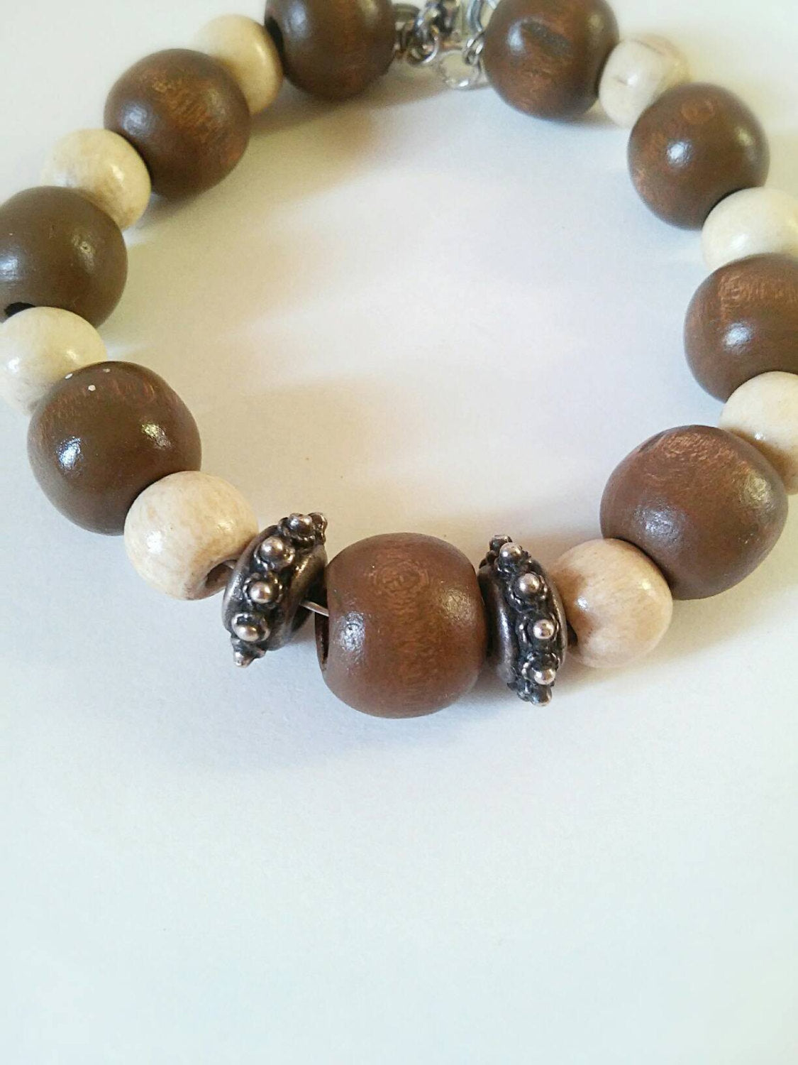 Bohemian wooden brown beaded bracelet, boho brown bracelet, boho gift for her, beaded bohemian bracelet, birthday boho bangle, love charm