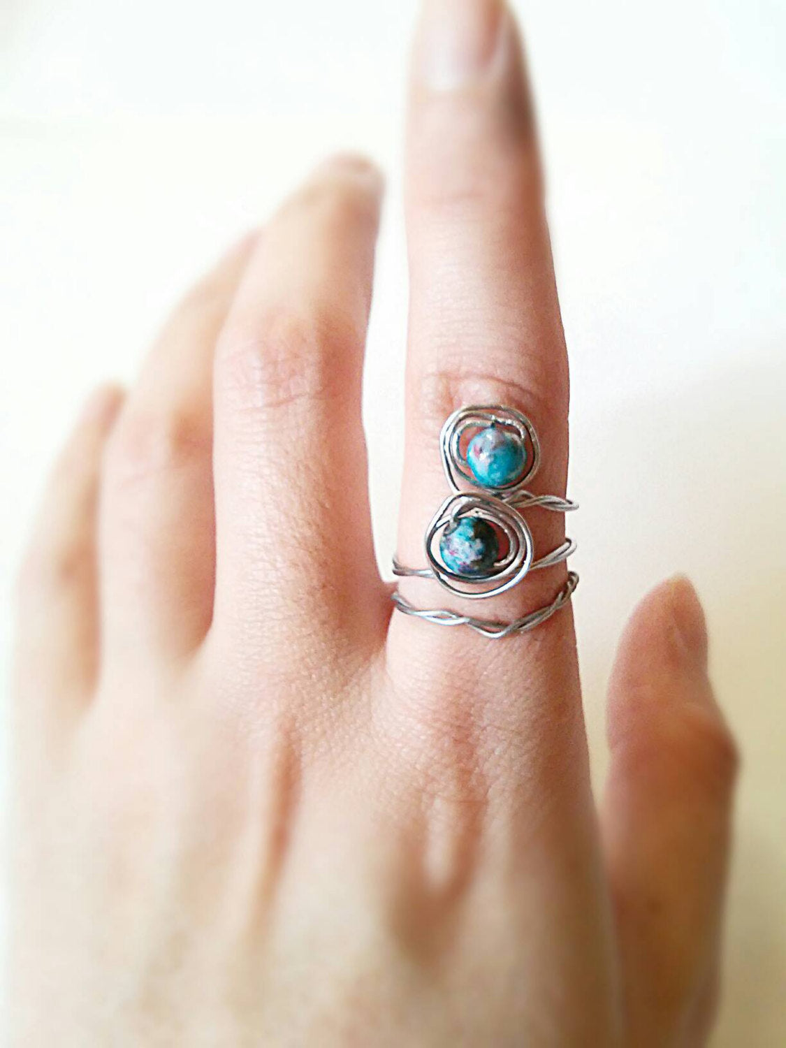 2 Boho stone stackable ring set/double stone ring/hippie ring/silver boho ring set/hippie stone ring/adjustable ring/boho ring gift for her