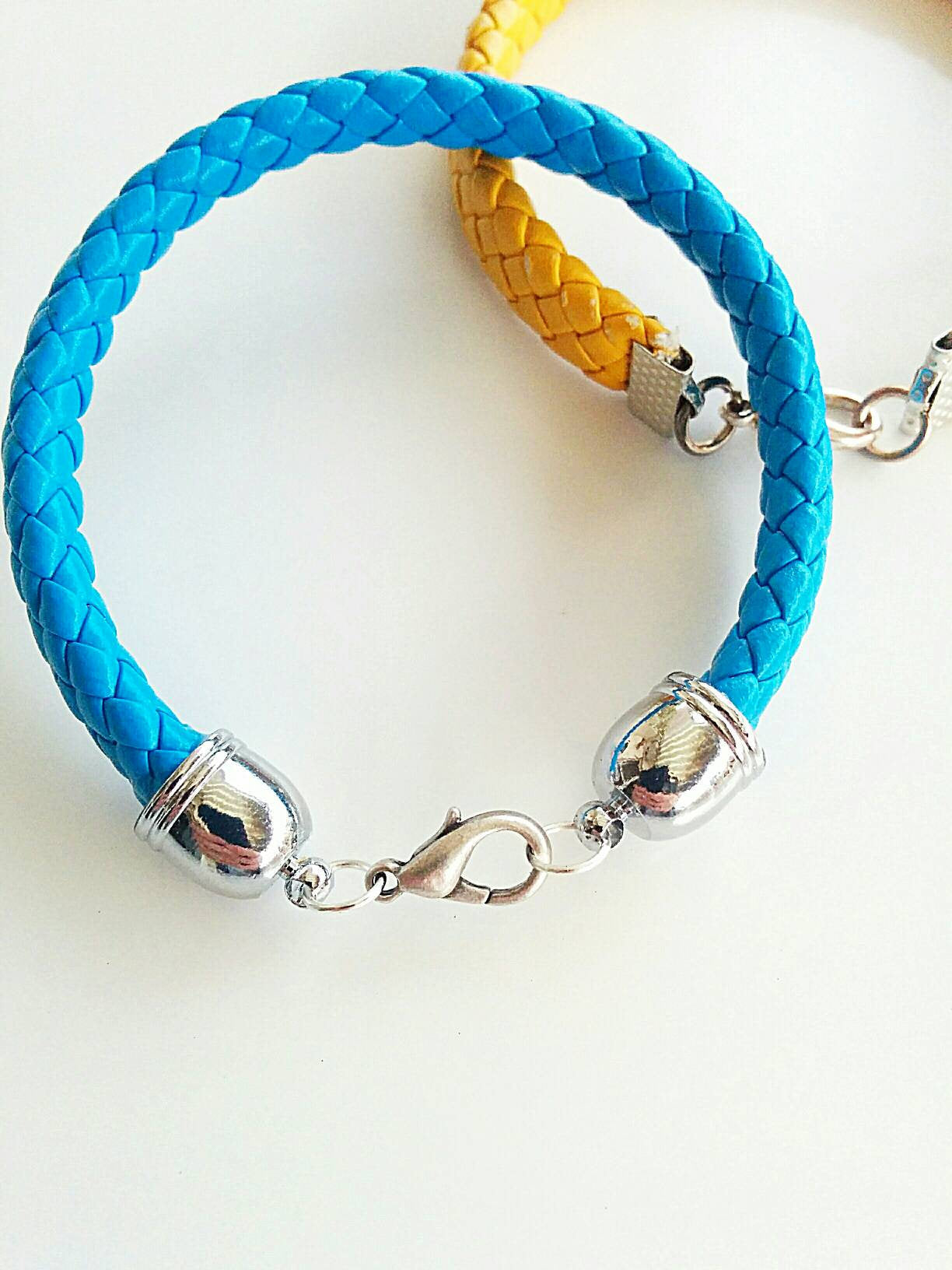 Boho blue and yellow leather bracelets, blue leather bracelet, thick bracelet, yellow bracelet, boho blue bracelet, hippie bracelet
