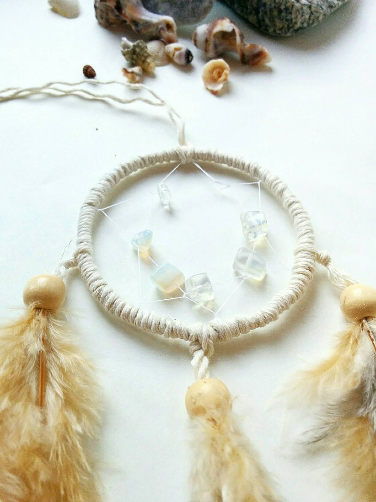 Mini dreamcatcher shell decor, bohemian car decor, boho party favors, party favor dreamcatcher, boho dorm room decor,boho dreamcatcher