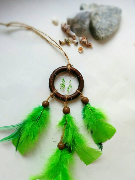 Bohemian green small dreamcatcher, boho green decor, green dreamcatcher, hippie dreamcatcher green, small dreamcatcher, boho decor,car decor