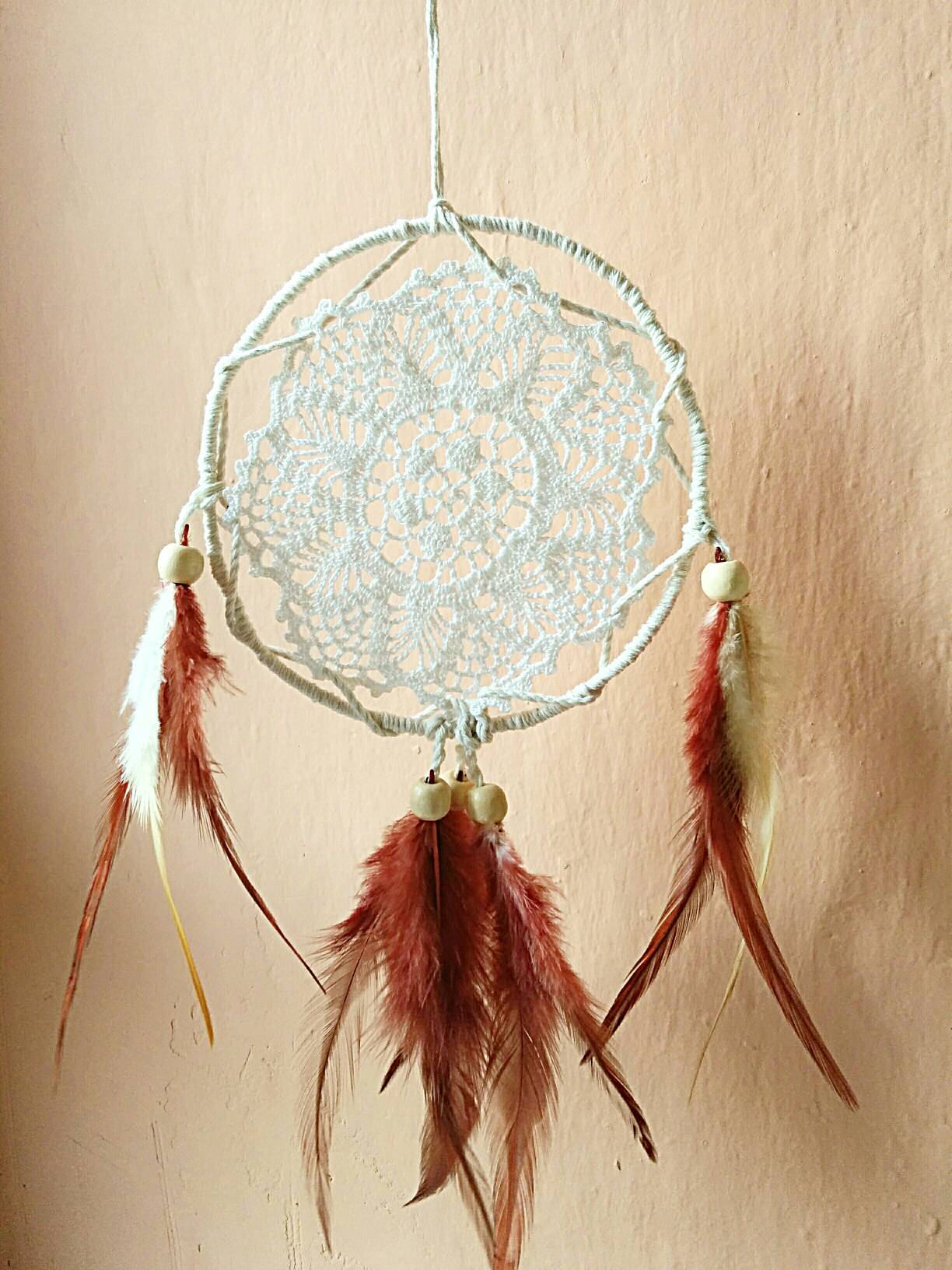 Doily dreamcatcher brown feathers, brown feather, boho fall decor, home decor, college wall decor, fall wall decor, boho dorm wall art