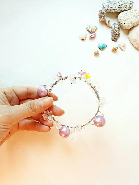 Bohemian purple pearl and flower bangle/bangle bracelet/boho bangle/hippie bangle bracelet/boho flower bangle boho flower bangle bracelet