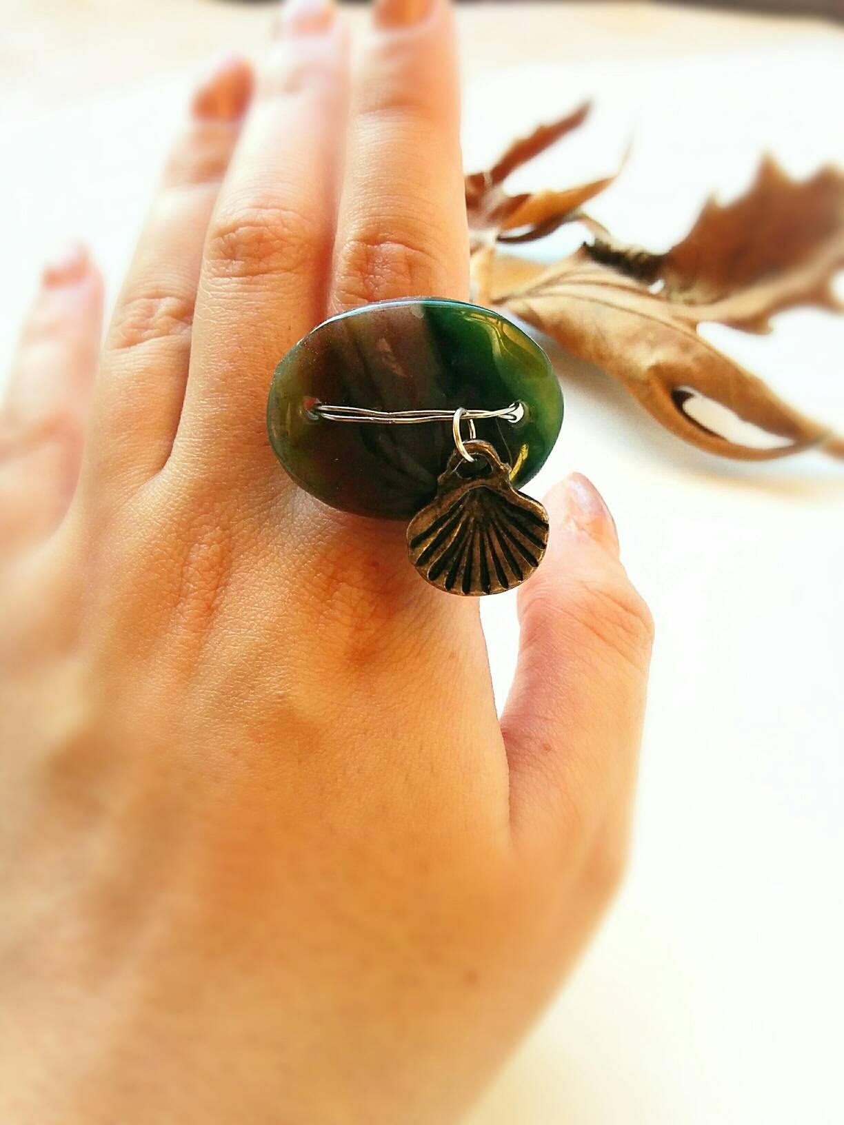 Green Jade stone statement ring, Boho Jade green stone ring, wire ring, large green stone ring, boho wire ring, hippie wire ring,bohemian
