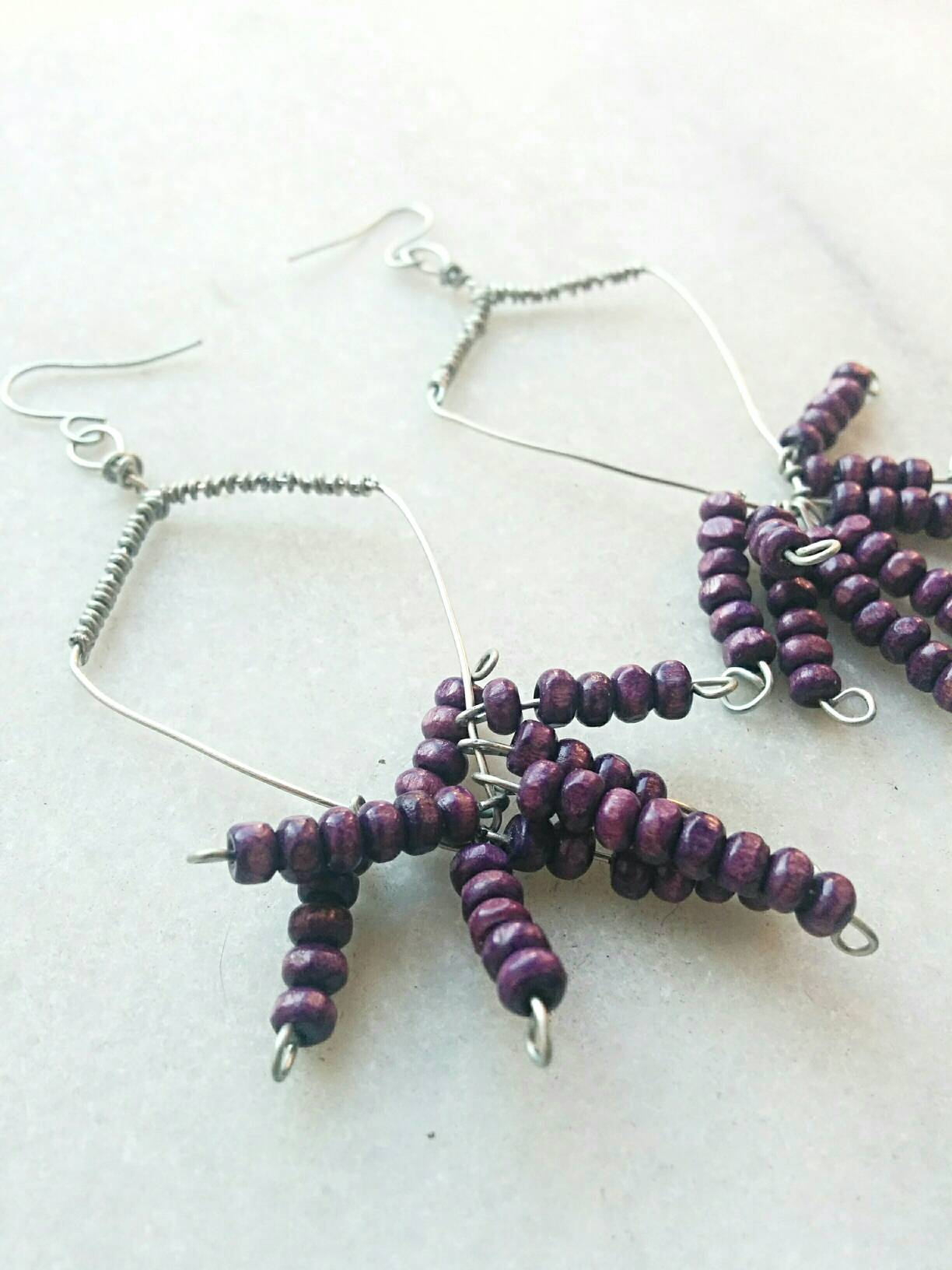 Bohemian wire wrap purple long earrings/boho long earrings/wire wrapped earrings/hippie purple earrings/boho purple earrings/purple earrings
