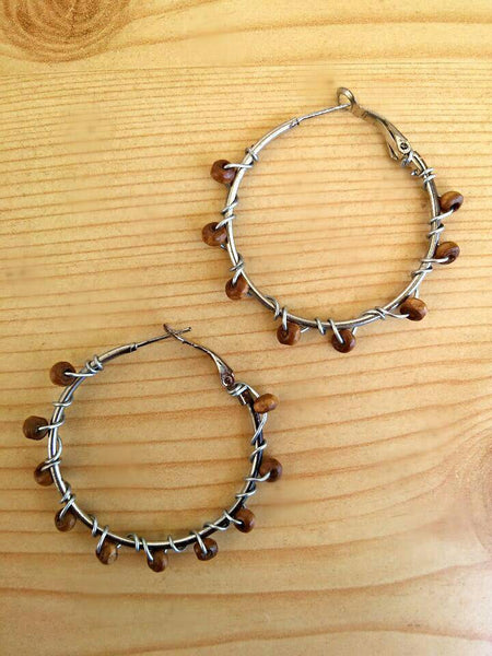 Beaded hoop earrings/boho hoops/ stainless hoop earrings/beaded earrings/ hoop earrings/boho hoop earrings /bohemian earrings/ hippie hoops