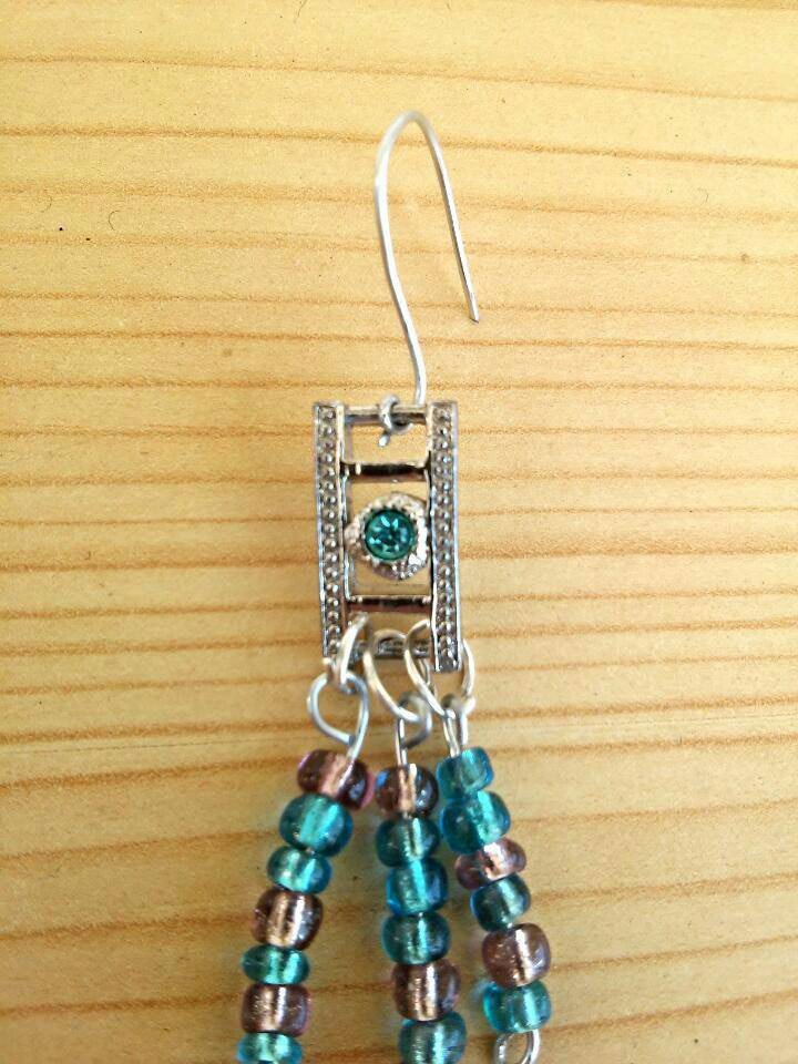 Silver blue diamond earrings/  silver earrings/ hippie earrings/ boho earrings/boho beaded earrings/ bohemian earrings/ boho silver earring