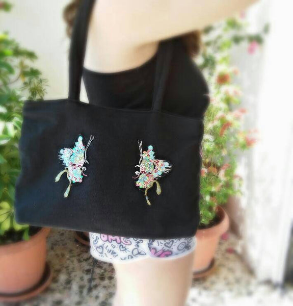 Black tote butterfly bag/ boho shoulder bag/ hippie bag/ black shoulder bag/ boho butterfly handbag/ boho handbag/ boho purse/ black purse