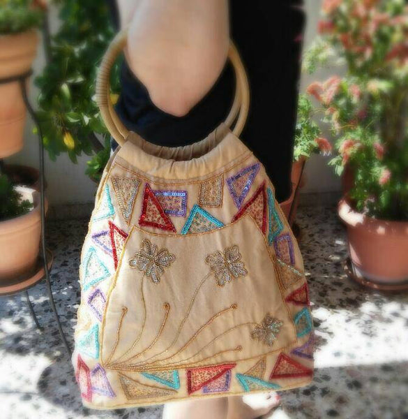 Beige Beaded triangles and flowers boho bag/tribal bag/shoulder bag/boho purse/boho bag/ethnic triangles bag/boho shoulder bag/bags