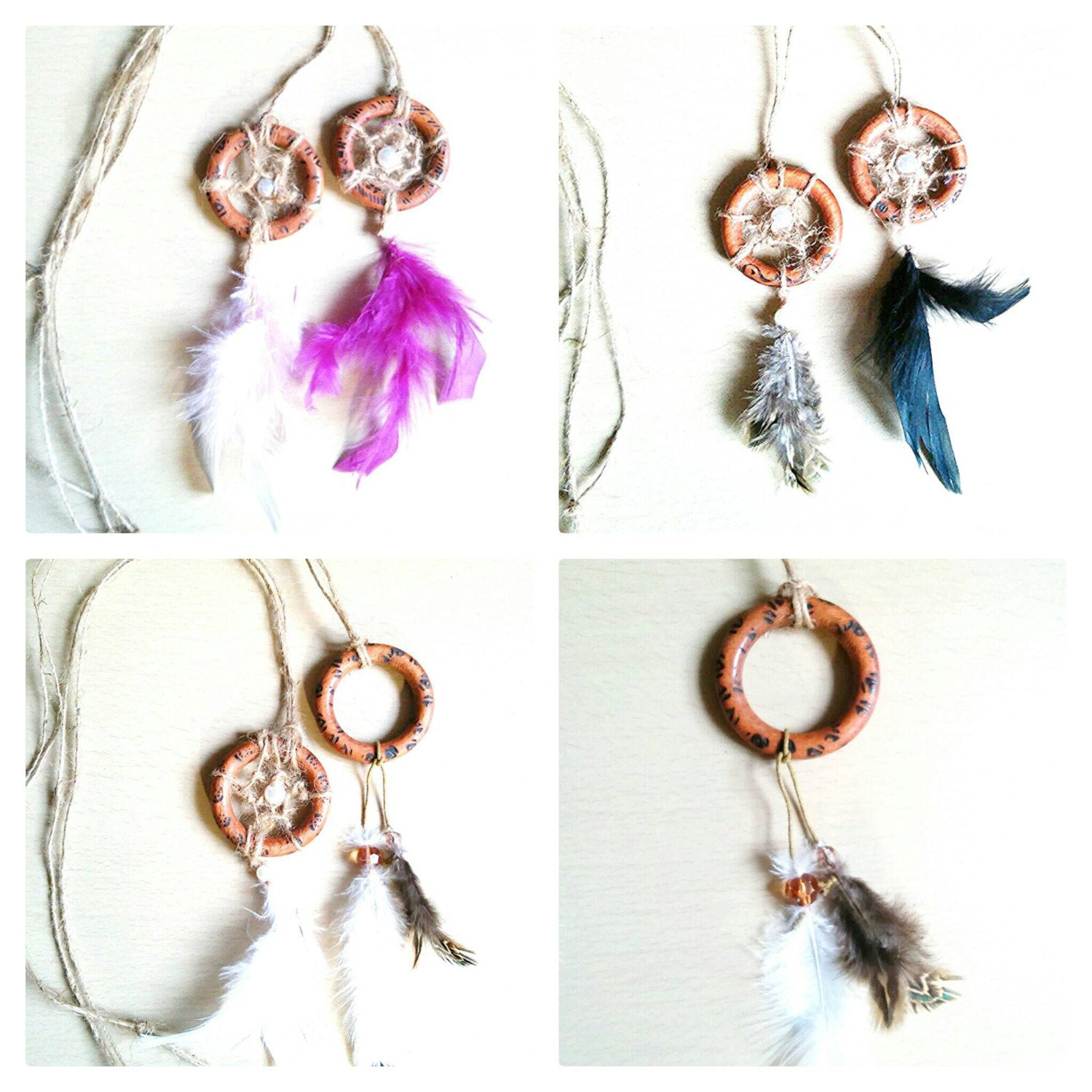 Dreamcatcher purple necklace/ long necklace/ pink feather necklace /boho dreamcatcher necklace/ festival necklace/ burned wood necklace
