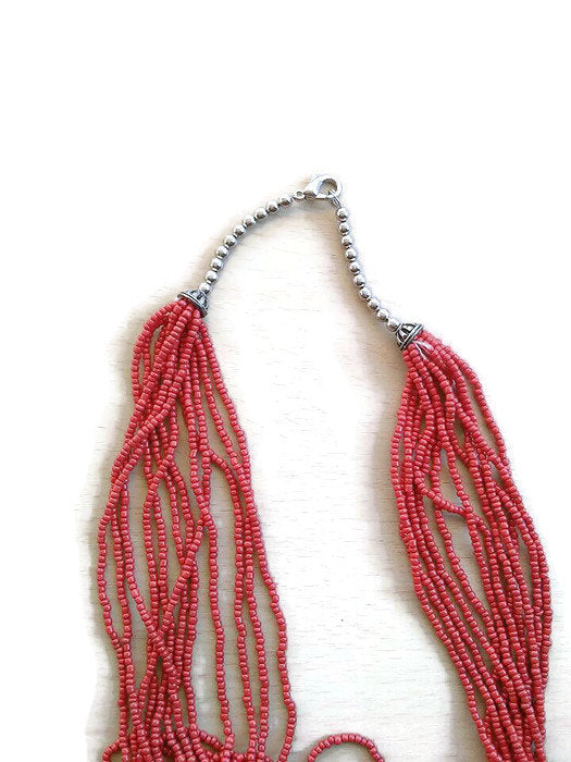 Multistrand boho red long necklace/hippie long birthday gift necklace/multistrand necklace/boho red necklace/red beaded necklace