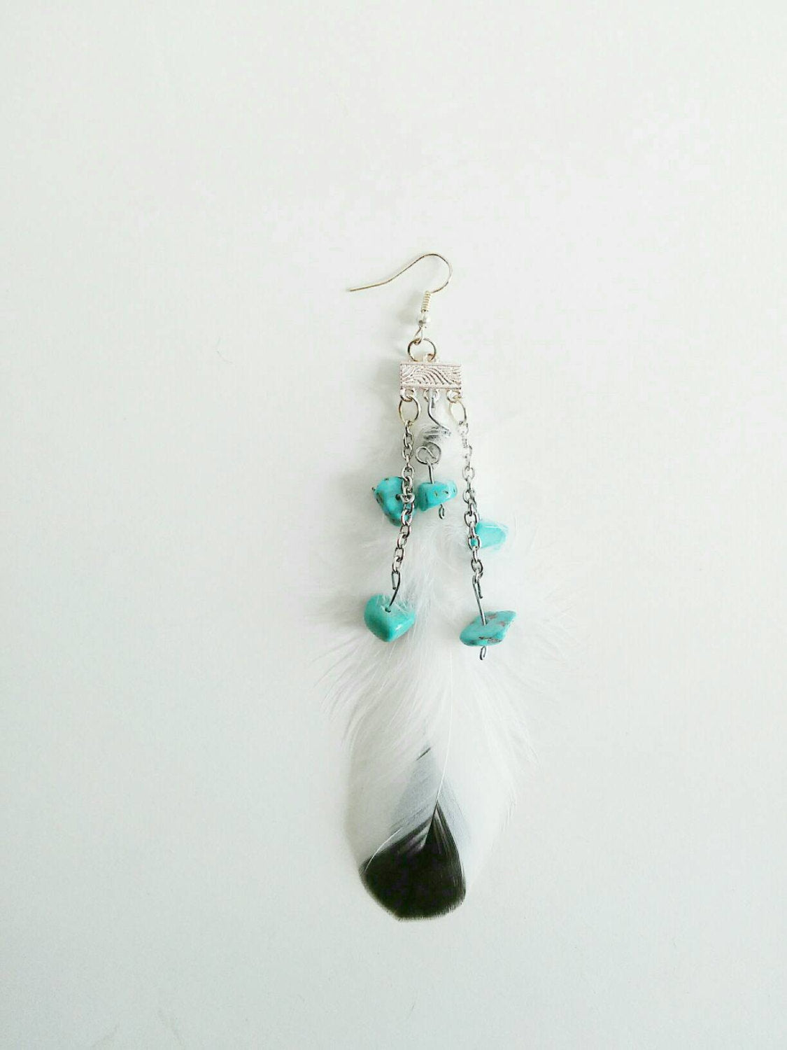 Single white boho feather earring/feather earring/boho earring/bohemian/single earring/blue turquoise stone earring/white feather earring