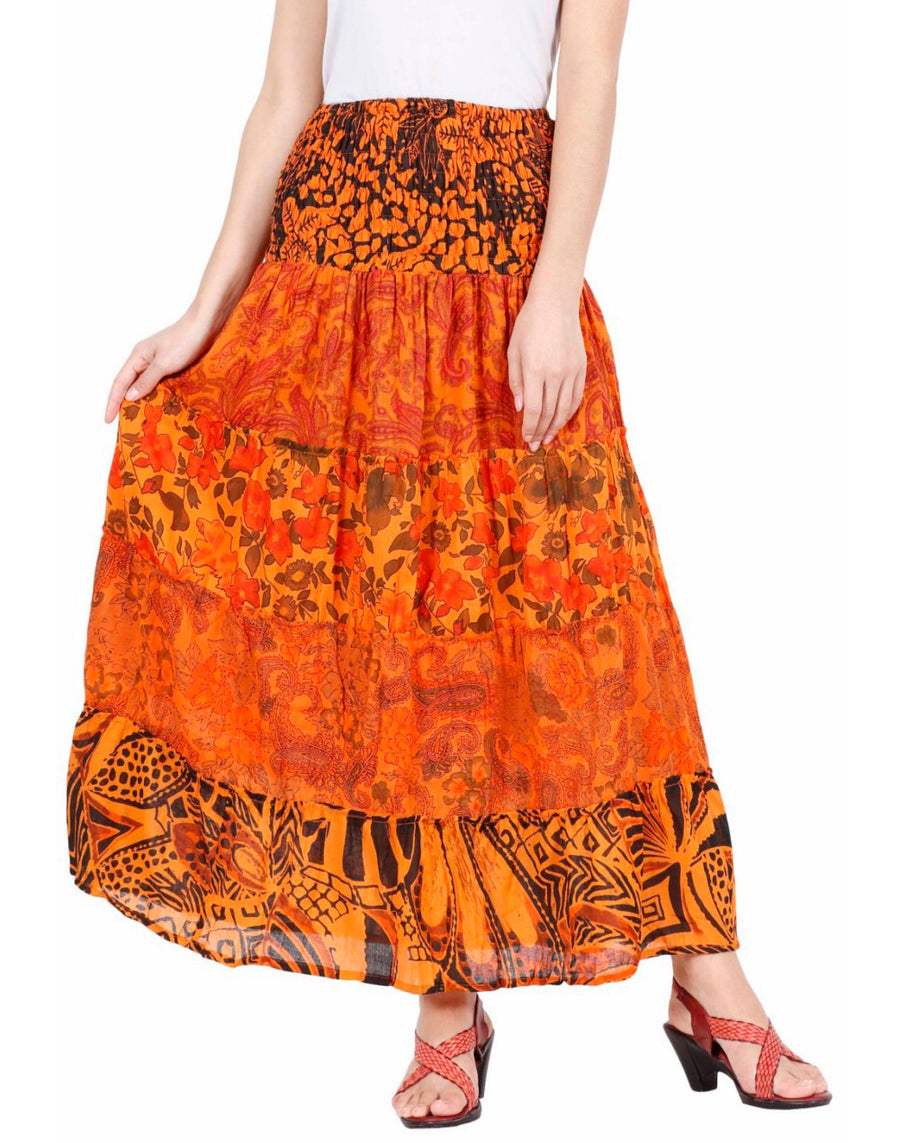Orange Skirt, Floral Skirt, Skirts For Women, High Waisted Skirt, Long Maxi Skirt, Skirts Online, Summer Skirts, Long Skirt, Cute Skirts, Cotton Skirts,Full Skirt, Long Summer Skirts,  Buy Skirts Online