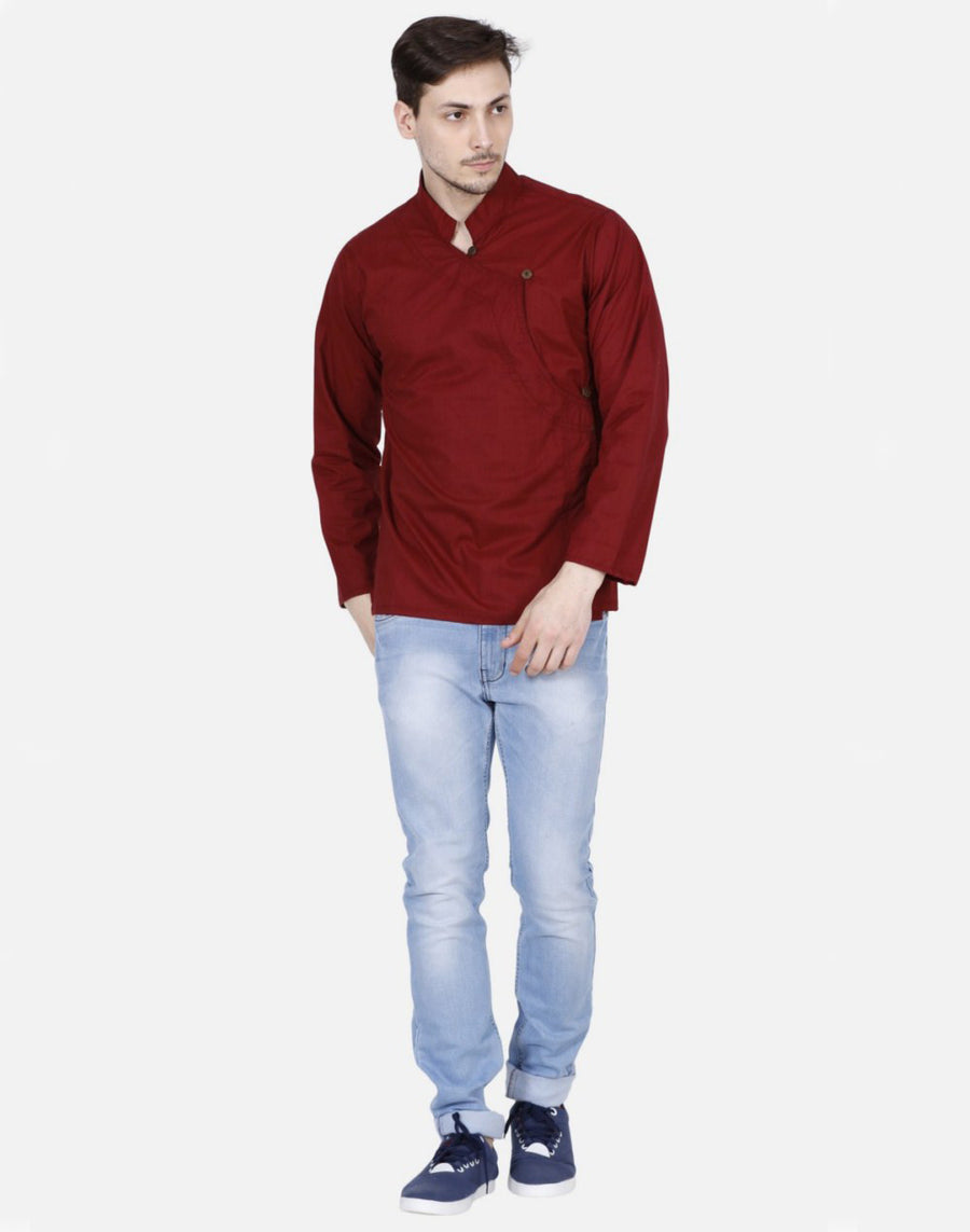 THS Mens Boys Yoga Stylish Kurta - Maroon