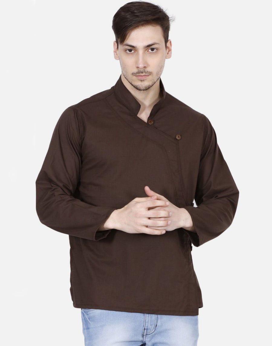 THS Mens Boys Yoga Stylish Kurta - Brown