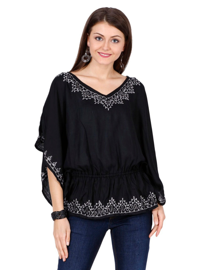 women's rayon tops,rayon tops,maternity tops, evening tops, Black tops for women, ladies white tops, Black top online, white blouse, Black v neck top, embroidered top, Black embroidered top,embroidered tunic
