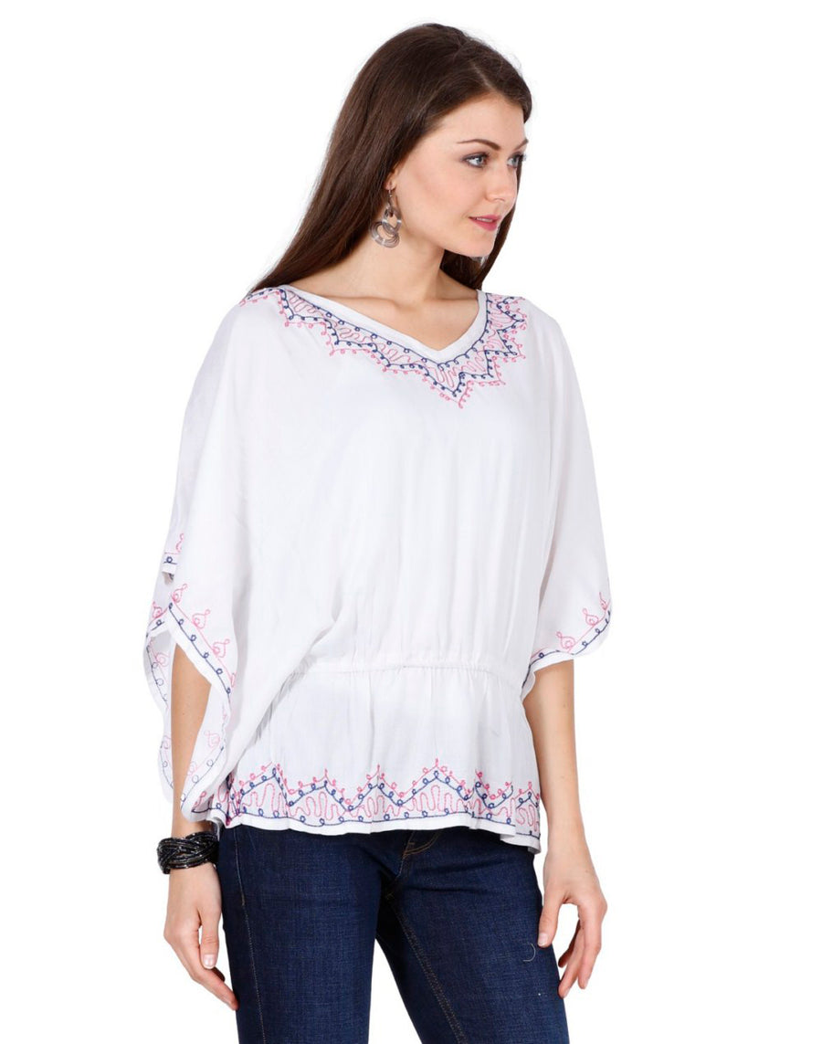women's rayon tops,rayon tops,maternity tops, evening tops, white tops for women, ladies white tops, white top online, white blouse, white v neck top, embroidered top, White embroidered top,embroidered tunic