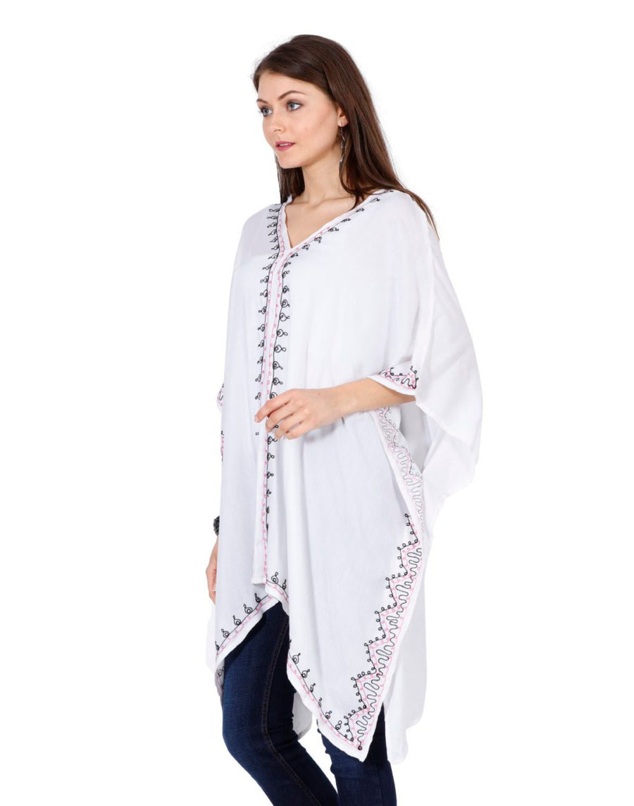 women's rayon tops,rayon tops,maternity tops, evening tops, white tops for women, ladies white tops, white top online, white blouse, white v neck top, embroidered top, White embroidered top,embroidered tunic, white kaftan, women rayon kaftan