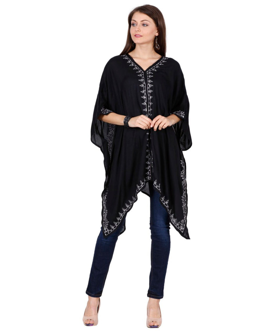 black kaftan, women rayon kaftan,women's rayon tops,rayon tops,maternity tops, evening tops, black tops for women, ladies black tops, black top online, black blouse, black v neck top, embroidered top, black embroidered top,embroidered tunic