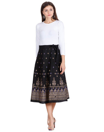 THS Womens Cotton Black Skirt- Wrap Around Style - Colour Print