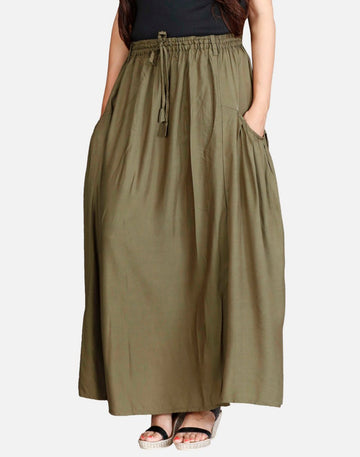 THS Womens Skirt in Rayon Cloth and 2 Pockets - A Shape Falling Pockets Style - Khaki