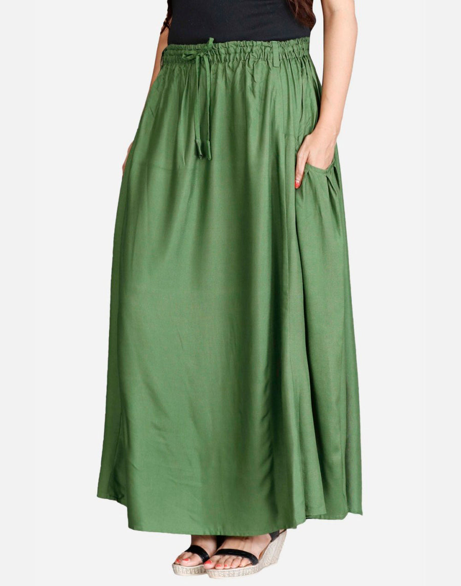 THS Womens Skirt in Rayon Cloth and 2 Pockets - A Shape Falling Pockets Style - Green