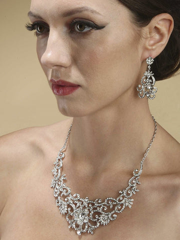 Magnificent Crystals Scroll Bridal Necklace Set