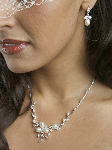 Freshwater Pearls in CZ Leaves Neck Set