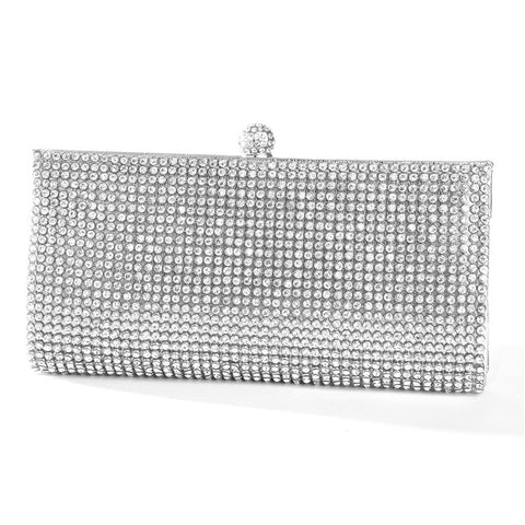 Silver Evening Bag with Bezel Set Crystals