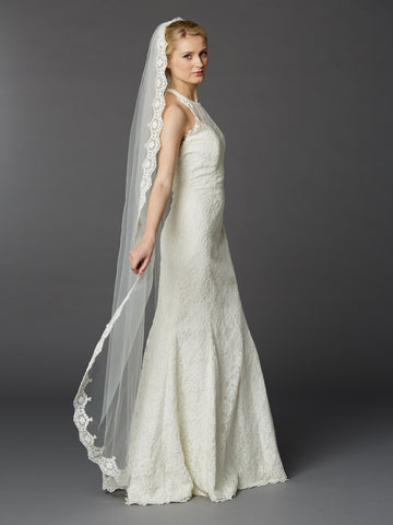 Floor or Chapel Length Wedding Mantilla Veil with Lace