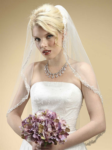 Rhinestone Edge Mantilla Wedding Veil with Floral Applique