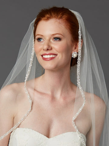 Rhinestone Edge Fingertip Wedding Veil with Pearls, Beads & Crystals - Ivory