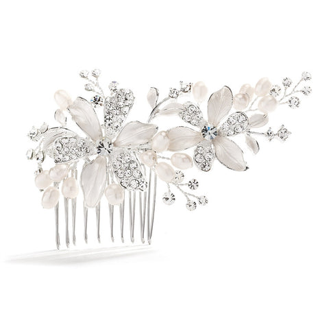 Brushed Silver Floral Wedding Comb with Freshwater Pearls & Crystals