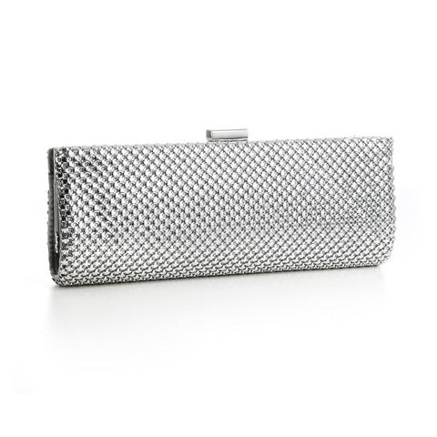 Chic Silver Mesh Clutch Evening Bag