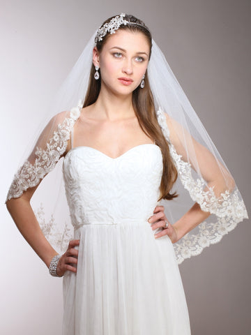 1-Layer Mantilla Bridal Veil with Crystals, Beads & Lace Edge