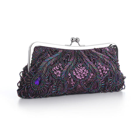 Eggplant Aubergine Evening Bag with Beads, Sequins & Gems