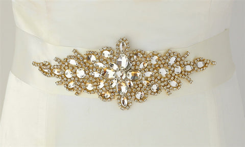 Opulent Satin Bridal Sash with Gold & Crystal Starburst (Available in White/Gold and Ivory/Gold)