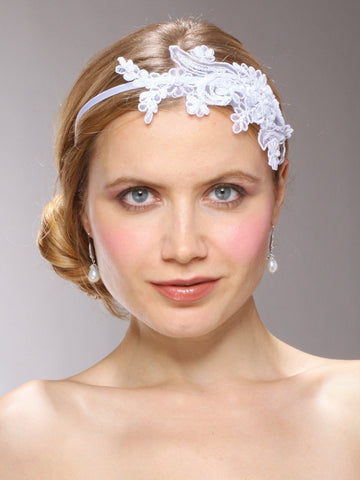 Vintage Lace Headband with Pearls & Sequins (Available in Ivory, White or Champagne Gold)