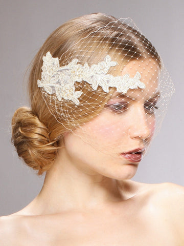 French Netting Bandeau Bridal Veil with Vintage Lace