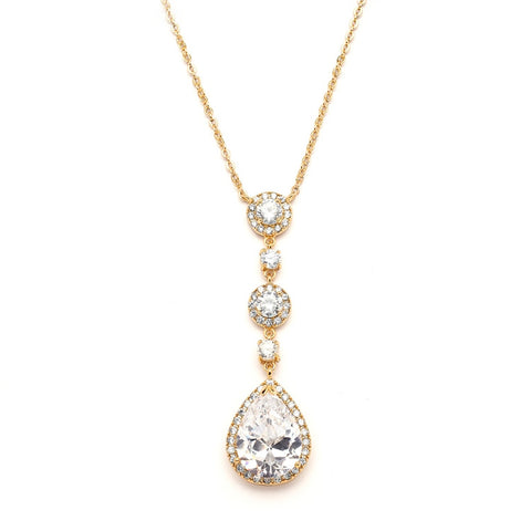 Best-Selling Gold Bridal Necklace with Pear-shaped CZ Drop (Available in Gold or Rose Gold)