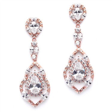 Best Selling Rose Gold Cubic Zirconia Dangle Wedding or Prom Earrings