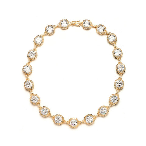 Luxurious Cushion Cut CZ Necklace (Available in Gold or Rose Gold)