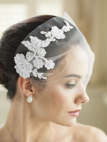 Tulle Bandeau Wedding Veil with Beaded Lace Applique
