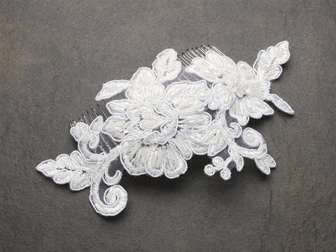 Romantic English Rose Ivory Lace Wedding Comb