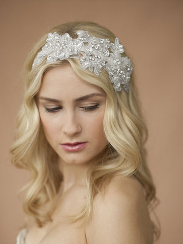 Sculptured Lace Wedding Headband with Crystals & Beads (Available in White or Ivory)