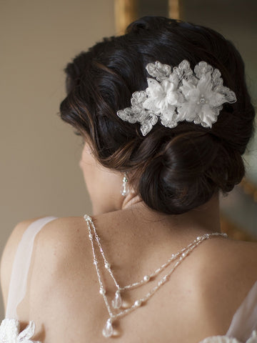 Sophisticated Handmade Bridal Comb with Beaded Floral Lace Applique (Available in Ivory or White)